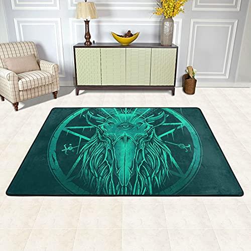 Alfombra de área para sala de estar, ojos de baphomet antideslizante alfombra de piso alfombras decoración del hogar dormitorio