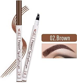 Tattoo Pen Eyebrow, Lamavido 3D Eyebrow Tattoo Pen Microblading Eyebrow Marker Pencil 4 Fork Tips Liquid Blonde Eye Makeup, Long-lasting Waterproof Smudge Proof Natural Look (02# Brown)