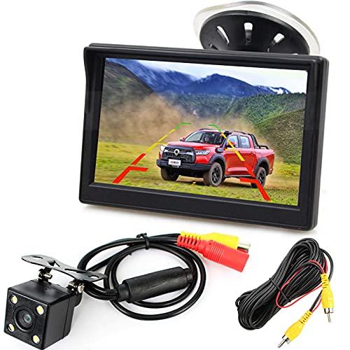 12V-24V 12,7cm (5 Zoll) HD Auto LCD Monitor mit 4LED Nachtsicht Wasserdicht Auto Rückansicht Rückfahrkamera Rückfahrsystem für PKW,SUV,Lieferwagen,Pickups und LKW