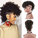 Wig Short Afro Kinky Curly Ponytail Hairpiece and Bangs Clip in on Synthetic Curly Hair Bun Made of Kanekalon Fiber Puff Ponytail Wrap Updo Hair Extensions with Clip