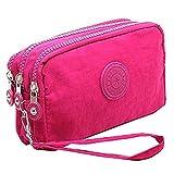 Fueerton - Bolso multiusos con cremallera y 3 apartados para guardar llaves, tarjetas, teléfono y dinero, rosa (b) (Rosa) - Fueerton