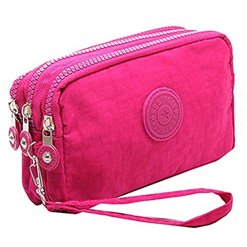 Fueerton Multifunction 3 Layers Zipper Key Card Phone Pouch Coin Money Bag Purse Wallet Rose