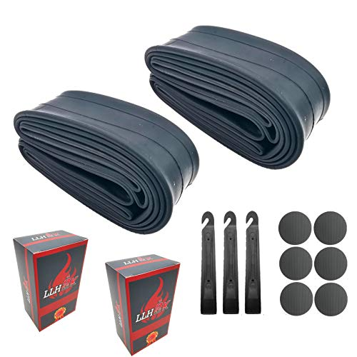 LLH2K 26 Inch Bike Tube Bicycle Tube - 26x1.95 Bike Tube WITH Bike Patch Kit - 3 Tire Levers, 6 Self-Adhesive Round Patches - Also Fits 26x1.90 26x2.10 26x2.125 - Premium Anti-aging Bike Tube