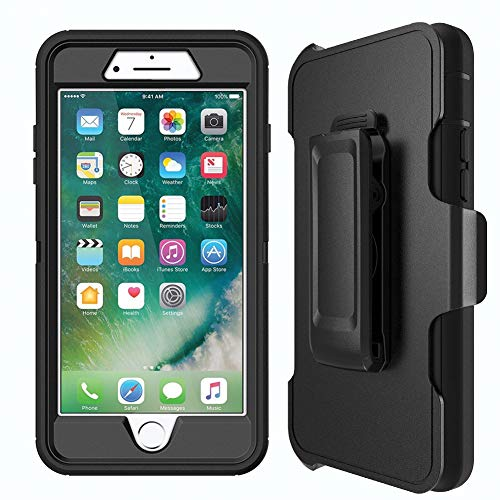 MBLAI Defender Case for iPhone 7 Plus, iPhone 8 Plus Case with Belt Clip(ONLY). Kickstand, Holster, Heavy Duty, Built in Screen Protector - Retail Packaging-Black