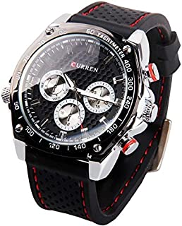 CURREN 8146 Men's Quartz Watch Rubber Strap Watch Waterproof Wrist Watch -Black