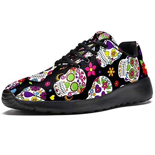 Zapatillas deportivas para correr para mujer, diseño de calavera de azúcar, de México, con patrón floral, de malla, transpirables, para caminar, senderismo, tenis, color, talla 38 EU