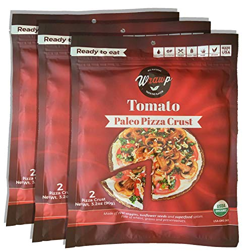 Paleo Pizza Crust | 3 Pack Tomato Flavored Organic Gluten Free, Dairy Free, Soy Free, Nut Free and Vegan Pizza Crust