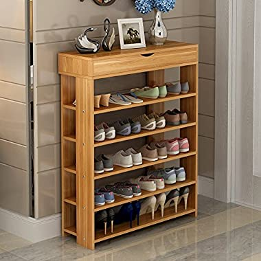 soges 29.5  Shoe Rack 5 Tier Free Standing Wooden Shoe Storage Shelf Shoe Organizer, Teak L24-Y