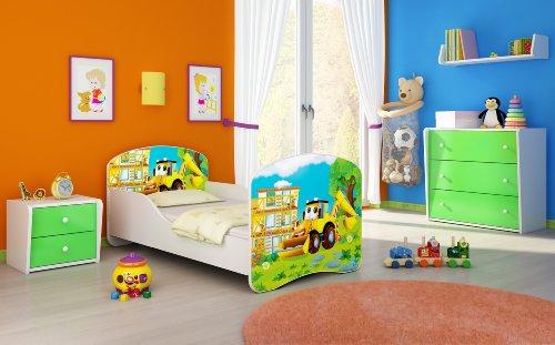 Clamaro 'Traumland' Motiv Kinderbett 70 x 140 cm inkl. Matratze und Lattenrost, Kantenschutzleisten und Rausfallschutz, Motiv: 20 - Bagger Motiv
