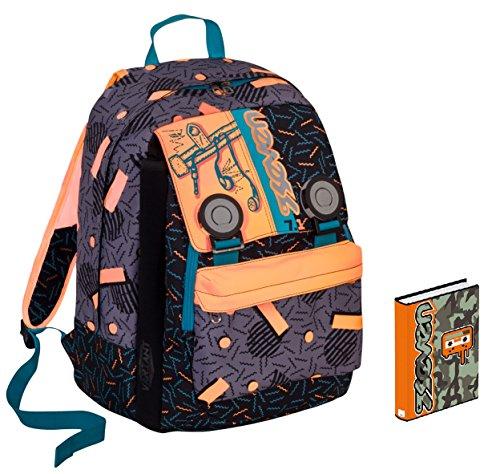 Seven Zaino Scuola DIARIO - Swag Boy - Arancione Nero - Estensibile - Variant System - 32 LT - elementari e Medie Inserti rifrangenti
