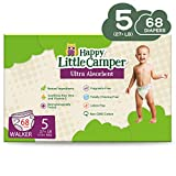 Happy Little Camper Natural Diapers, Size 5 (+27lbs) - Disposable Cotton Baby Diapers with Aloe, Ultra-Absorbent, Hypoallergenic and Fragrance Free for Sensitive Skin, 68 Count