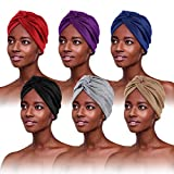 6 Piezas Turbantes para Mujer,Pañuelos Quimioterapia,Gorros Oncologicos para Mujer,Pañuelo Cabeza Mujer, Mujer Pelo Largo Verano Turbantes Lástico Frontal Cruzado Algodón