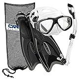 Cressi Italian Design Palau Long Fins - Focus Ultra-Clear Tempered Glass Scuba Snorkel Mask - Purge Dry Top Snorkel - Mask Fin Snorkel Set, TT-M/L