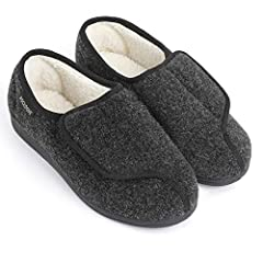 TERRIFIC FOR SWOLLEN FEET - Tired of not being able to fit into regular shoes due to swollen feet? This slipper/shoe hybrid with a hook and loop fastener are the answer to your footwear woes. Accommodates extra wide width or high instep feet like no ...