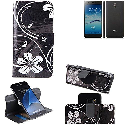 K-S-Trade® Schutzhülle Für Jiayu S3 Advanced Hülle 360° Wallet Case Schutz Hülle ''Flowers'' Smartphone Flip Cover Flipstyle Tasche Handyhülle Schwarz-weiß 1x