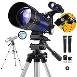 Télescope Astronomique pour Enfant ou Débutants avec Trépied de 110cm Réfracteur Télescope avec Lentille Barlow comme Cadeau...