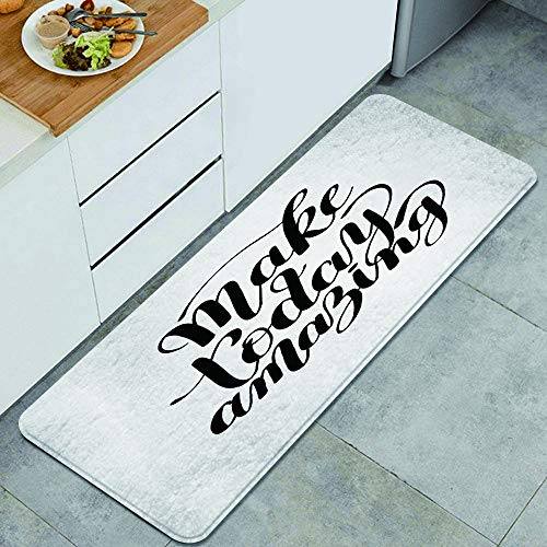 LONSANT Küchenteppiche,Slogan Make Today Amazing Black Ink Schriftzug Positives Zitat zu Wall Home Happen,rutschfestes Küchenmatten und Teppichset Gummiunterlage Fußmatte Runner Teppich Set 45X120CM