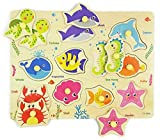 Wooden Peg Puzzle, Sea Creature Chunky Baby Puzzles, Colorful Wood Shape Puzzle Peg Board, Animal Knob Puzzle for Educational Toddlers 18 Months and Up, 11 Pieces