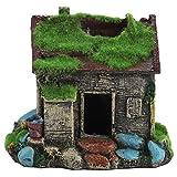 DaMohony Casa de resina de simulación para acuario, casa de cueva, mini villa casa, adorno de resina peces, escondite figura paisaje