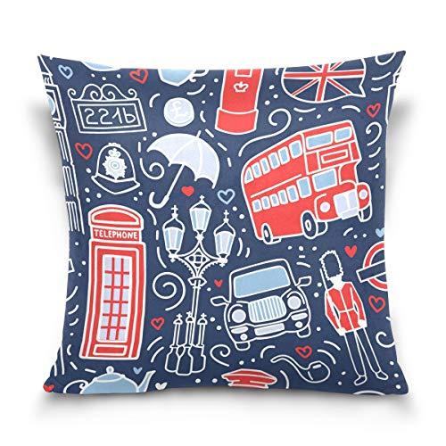 Vipsa Symbols Of London - Funda de cojín cuadrada decorativa para sofá, dormitorio, coche, 45,7 x 45,7 cm