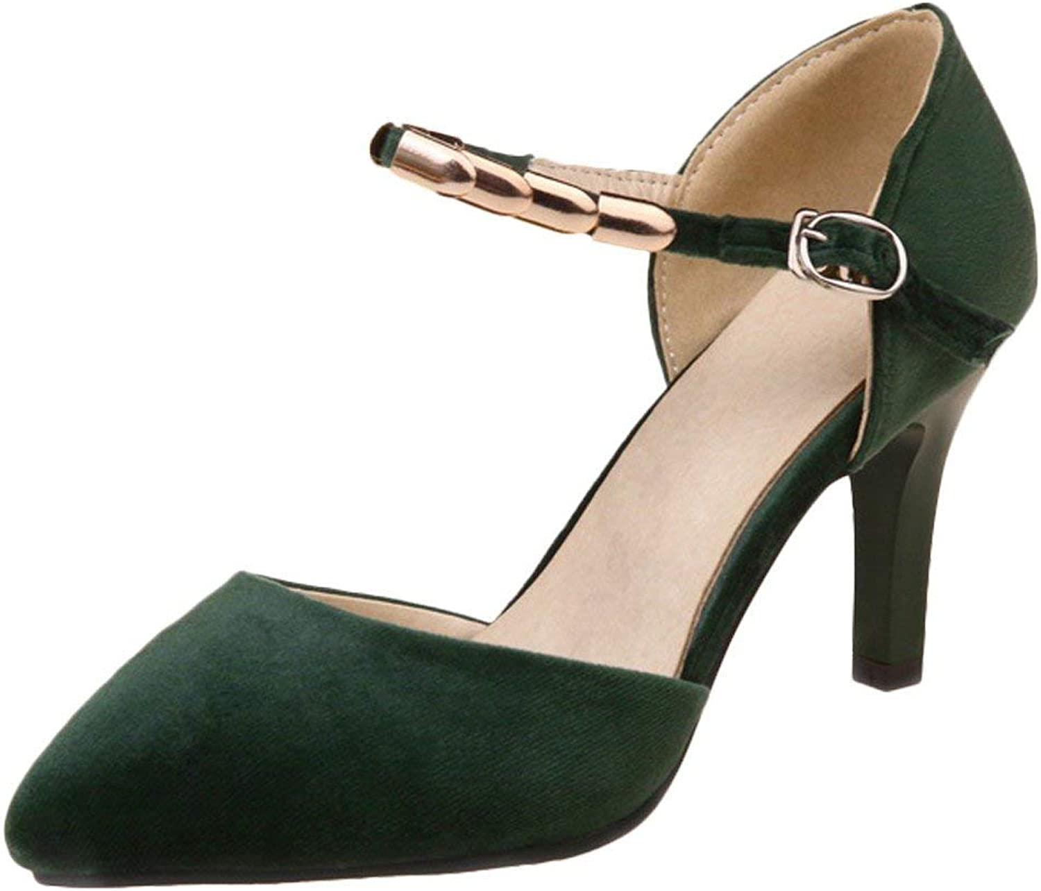 Ghssheh Women's Ankle Strap High Heel Pointed Toe D'Orsay shoes Dark Green 6.5 M US