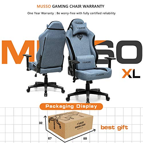 Musso Fabric Gaming Chair with Wide Seat,Heavy Duty Racing Chair, Adults Adjustable Video Game Chair, Large Size PU Leather High-Back Executive Office Chair (Blue)