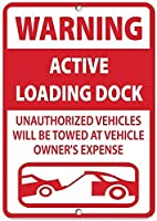 警告アクティブなローディングドック許可されていない車両がアルミニウム金属の看板を牽引