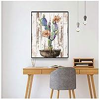 サボテンポット植物キャンバス絵画ポスターとプリント壁アート写真リビングルームの家の装飾-60x80cmx1フレームなし