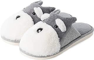 Adult Cartoon Schnauzer Dog Soft Plush Non-slip Indoor Winter Warm Slippers