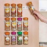 Ducomi Clip and Store - Organizador Cocina para Especias con Clip Adhesivas de Puerta, Pared o Estantería - Dim: 25 x 2.5 x 4 cm - 4 Soportes para 20 Especias