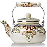 Enamel Teapot floral,Large Porcelain Enameled Teakettle,Colorful Hot Water Tea Kettle pot for...
