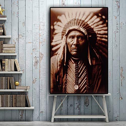 tzxdbh Ölgemälde Leinwand Hintergrund WandbehangBlack White Native Indian Portrait Scinavian Geeignet für Wohnzimmer im Galerieraum mit Gehwegtreppe (70x95cm ohne Rahmen)