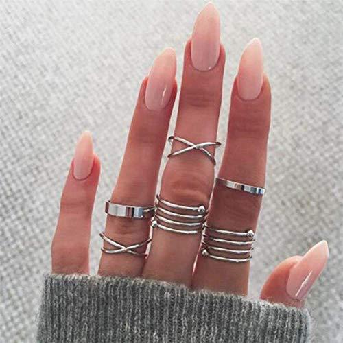 Gluckliy 16 Pcs Women's Vintage Flower Leaves Stacking Rings Boho Finger Knuckle Midi Ring Set (Silver)