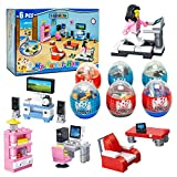 6 Pack Dollhouse Furniture Toy | Mini Building Blocks Furniture STEM Toys|2 in 1 Surprise Egg with 52Pcs Building Bricks Toys. Party Favor for Kids, Goodie Bags, Birthday, Carnival Prize, Easter, BOYS