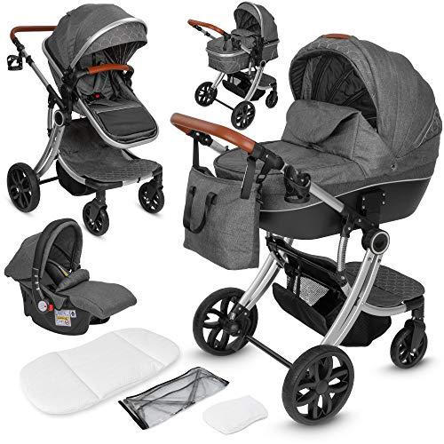 ib style® OLINA 3 in 1 Kinderwagen | Kombikinderwagen | inkl. Babyschale/Autositz | separater Buggy Aufsatz | ! Inkl. Matratze ! | 0-15kg | Grau