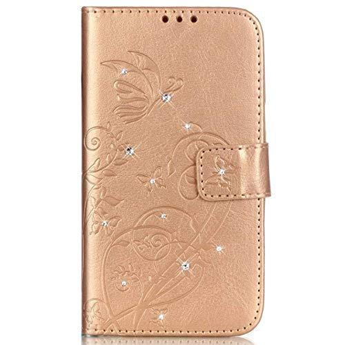 kompatibel mit Huawei Honor 5C Hülle,Handyhülle Huawei Honor 5C Lederhülle Blume Schmetterling Glitzer Strass Diamant PU Leder Flip Hülle Wallet Tasche Hülle Cover Schutzhülle für Huawei Honor 5C,Gold