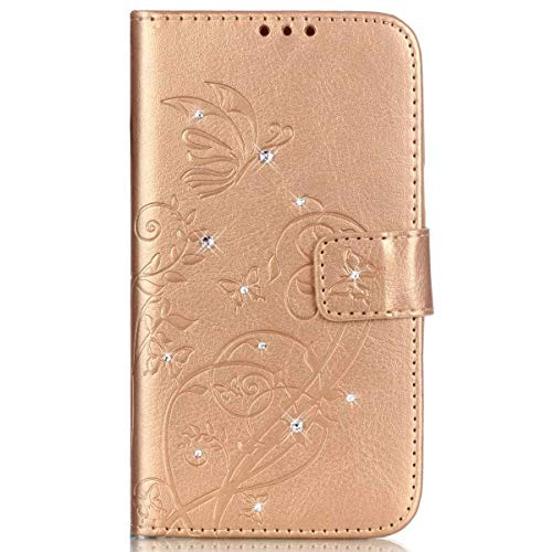 kompatibel mit Galaxy S5 Mini Hülle,Handyhülle Galaxy S5 Mini Lederhülle Blume Schmetterling Glitzer Strass Diamant PU Leder Flip Hülle Brieftasche Schutzhülle für Galaxy S5 Mini,Gold