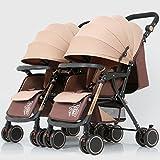 Zwillings-Baby-Spaziergänger, leichter faltender Vierradfahrer, justierbarer voller Sonnenschutz, Kohlenstoffstahl-Rahmen ( Color : Khaki tube khaki )