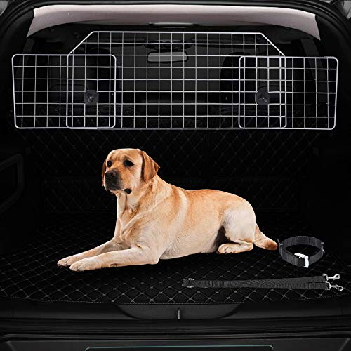 CO-Z Dog Barrier for SUVs, Cars and Vehicles, Smooth Designed Wire Mesh Pet Barrier, Heavy-Duty Adjustable Dog Car Guard, Safety Car Divider for Cargo Area, Car Gate Fence with Dog Leash Universal-Fit