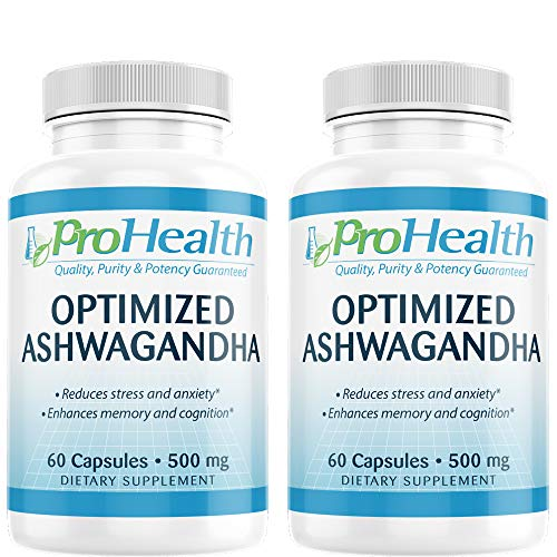 ProHealth Optimized Ashwagandha KSM-66 2-Pack (500 mg, 60 Capsules) | Ashwagandha Root Supplement | High Concentration | Cognition Support | Organic