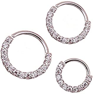 Ownsig 3 Pcs Hoop Earrings Silver Plated Round Nose Rings Zirconia Mini Earrings Women Jewelry Gift 6mm, 8mm,10mm