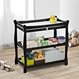 Baby Changing Table, Kealive Wooden Diaper Changing Table with 2 Shelves Open Storage, Infant Changing Table Nursery Dresser with Pad and Safety Belt for Baby, Black