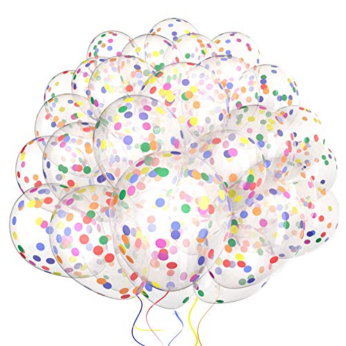 60 Pack Dandy Decor Rainbow Confetti Balloons w/Ribbon | Rainbow Balloon | Party Balloons | Helium Balloons | Multi Colored Balloons | Birthday Balloons | Globos para Fiestas | Bright Balloons