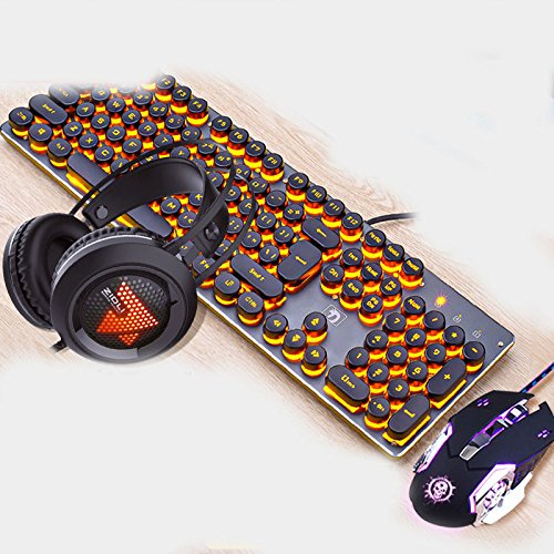 The Robot Feels Steampunk Keyboard Mouse Headset Tre pezzi per computer Gaming Mouse Periferiche (Color : Bianca)