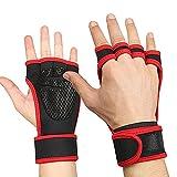 Guantes deportivos para fitness, entrenamiento cruzado, medio dedo, antideslizante, con soporte para la muñeca, manopla acolchada de cuero deportivo, para dominadas, gimnasio, gimnasia, levantamiento