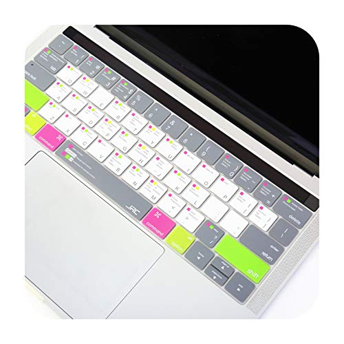 Ultra Thin Silicone MAC OS Shortcut Keyboard Cover for New MacBook Pro 13/15' Retina Model A1706 A1707 A1989 A1990 US Layout-Gray
