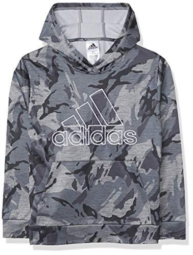 adidas - Sudadera deportiva con capucha para niño, diseño de camuflaje gris jaspeado, extragrande