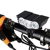 Luz de bicicleta recargable, 8000 lúmenes Luz de bicicleta LED T6 Luz delantera de bicicleta, Cargador de batería de linterna de 4 modos (negro)