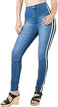 LONGBIDA Women's Casual High Waist Stretch Skinny Jeans Side Stripe Denim Pants