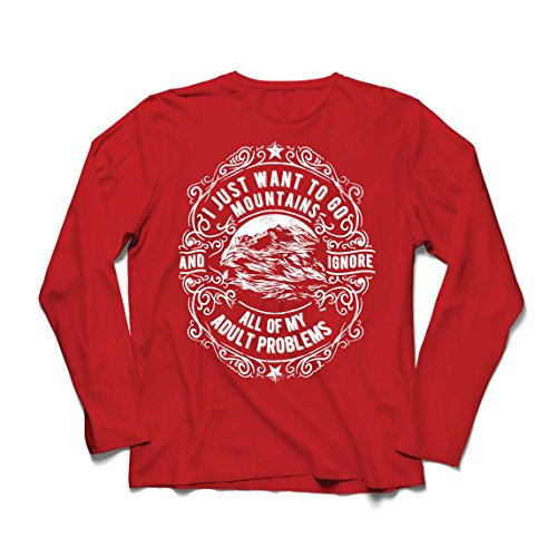 lepni.me Camiseta de Manga Larga para Hombre Solo Quiero IR a Las montañas: Regalo increíble, Invierno, Vacaciones de Verano, Lemas de Viajes